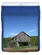 Abandoned Old Farm Building With Blue Sky Duvet Cover