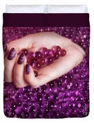 Abstract Woman Hand With Purple Nail Polish Duvet Cover