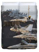 Aircraft Parked On The Flight Deck Duvet Cover