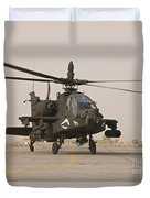 An Ah-64 Apache Helicopter Taxiing Duvet Cover