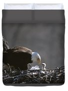 An American Bald Eagle And Chick Duvet Cover
