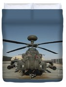 An Apache Helicopter At Camp Bastion Duvet Cover
