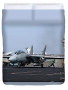 An F-14d Tomcat In Launch Position Duvet Cover