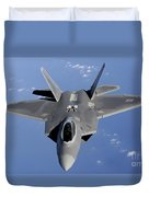 An F-22 Raptor Moves Into Position Duvet Cover