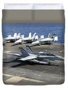 An Fa-18e Super Hornet Lands Aboard Duvet Cover