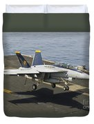 An Fa-18e Super Hornet Trap Landing Duvet Cover