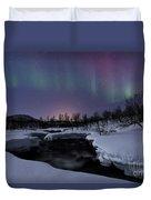 Aurora Borealis Over Blafjellelva River Duvet Cover