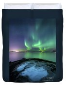 Aurora Borealis Over Vagsfjorden Duvet Cover