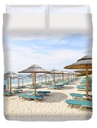 Beach Umbrellas On Sandy Seashore Duvet Cover