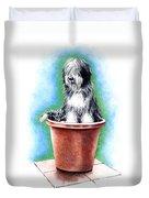 Beardie In A Pot Duvet Cover