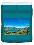 Beautiful Summer Day View Into The Akaroa Harbour Duvet Cover