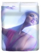 Beauty Photo Of A Woman In Shining Blue Settings Duvet Cover