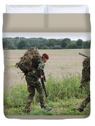 Belgian Paratroopers Red Berets Duvet Cover by Luc De Jaeger