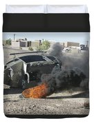 Black Smoke Rises To The Air Duvet Cover