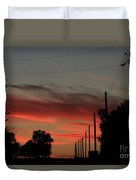 Blazing Red Country Road Sunset Duvet Cover