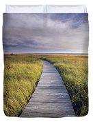 Boardwalk Along The Salt Marsh Duvet Cover