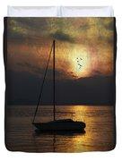 Boat In Sunset Duvet Cover by Joana Kruse