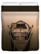 Boat In The Water, Varanasi, India Duvet Cover