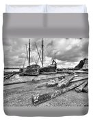 Boats And Logs At Pin Mill  Duvet Cover