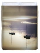 Boats In Mist Duvet Cover