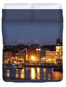Boats Moored On River Suir At City Duvet Cover