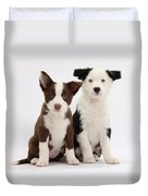 Border Collie Puppies Duvet Cover