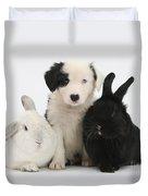 Border Collie Pups With Black Rabbit Duvet Cover