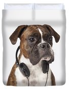 Boxer Dog With Headphones Duvet Cover