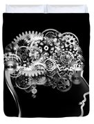 Brain Design By Cogs And Gears Duvet Cover
