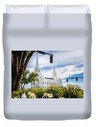 Brigham City Temple Street Lights Duvet Cover