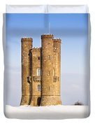 Broadway Tower In Winter Snow Duvet Cover