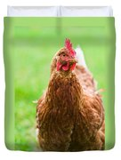 Brown Hen On A Lawn Duvet Cover