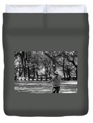 Bubble Boy Of Central Park In Black And White Duvet Cover