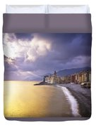 Buildings Along The Coast At Sunset Duvet Cover
