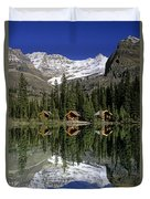 Cabins, Sargents Point, Lake Ohara Duvet Cover