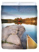 Canoe At A Rocky Shore Autumn Nature Scenery Duvet Cover