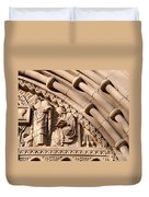 Carved Stone Biblical Mural Above Catholic Cathedral Doorway Duvet Cover