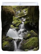 Cascading Creek In Temperate Rainforest Duvet Cover