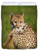 Cheetah Acinonyx Jubatus With Its Kill Duvet Cover