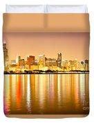 Chicago Skyline At Night Photo Duvet Cover