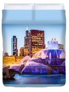 Chicago Skyline At Night With Buckingham Fountain Duvet Cover by Paul Velgos