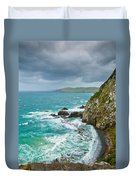 Cliffs Under Thunder Clouds And Turquoise Ocean Duvet Cover