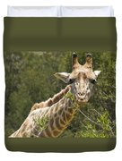 Close View Of A Giraffe Duvet Cover