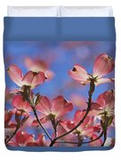 Close View Of Pink Dogwood Blossoms Duvet Cover