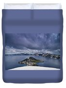 Clouds Over Crater Lake Duvet Cover