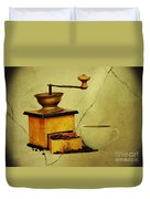 Coffee Mill And Beans In Grunge Style Duvet Cover