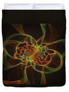 Computer Generated Yellow Vortex Abstract Fractal Flame Art Duvet Cover