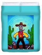 Cowboy Dia De Los Muertos Duvet Cover