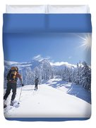 Cross-country Skiers In The Selkirk Duvet Cover