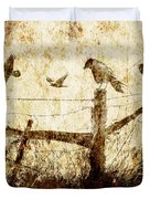 Crows And The Corner Fence Duvet Cover